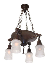 Antique Circa 1910 Beaux Arts Chain Suspended 4 Light