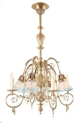 Elaborate Antique Circa 1890 4 Light Gas Electric Chandelier with Filigree Arms and Antique Blue Tipped Stencil Etched Shades