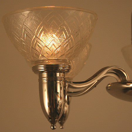 Antique Art Deco Circa 1930 5 Light Machine Age Chandelier