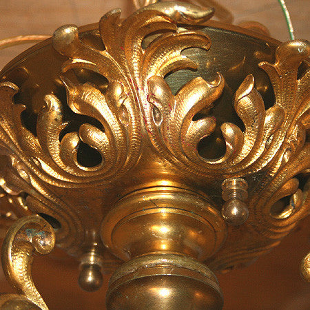 Antique Ornate Circa 1890 Early Electric European 3 Light with Original Ormolu Finish and Antique Iridescent Acid Etched Shades.