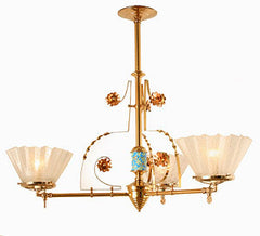 Antique Eastlake Circa 1870 3 Light Alpha Brass Converted Gasolier with Japanese Porcelain Insert