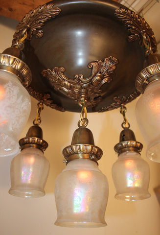 Incredible Antique Circa 1910 5 Light Edwardian Cascade with Acanthus and Crests