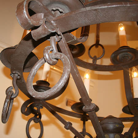 Amazing Arts and Crafts Circa 1900 12 Light Wrought Iron Ring Chandelier
