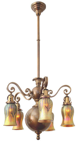 Antique Edwardian Circa 1910 5 Light Georgian Revival Chandelier with Art Glass