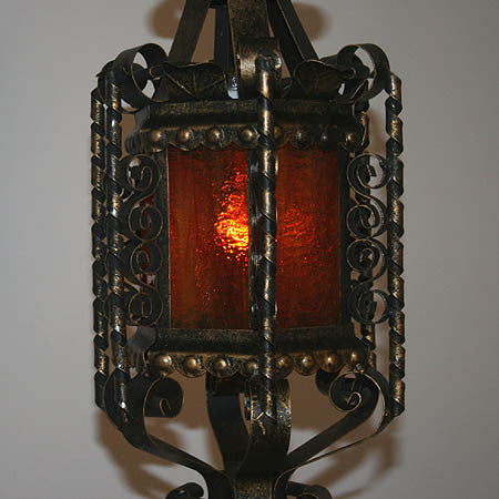 Antique Circa 1940 Scroll Work Wrought Iron Lantern