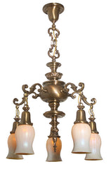 Antique Edwardian Circa 1910 5 Light Cast Scroll Arm Chandelier