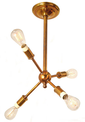 "Handcrafted Petite ""JETSON""  Four Light Sputnik Fixture."