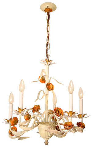 Antique Circa 1940 Five Light Italian Leaf and Floral Chandelier with Painted Finish
