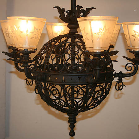 Incredible Circa 1890 Antique Six Light Converted Gasolier with Hand Wrought Scroll Work and Original Shades