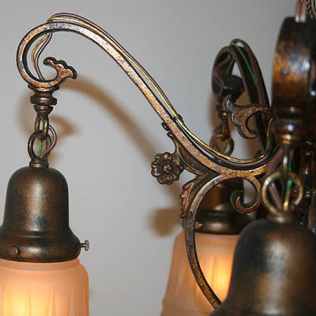 Antique Circa 1920 Tudor Revival Five Light With Original Polychrome Finish