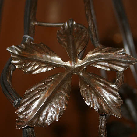 Striking Antique Circa 1925 6 Light Signed Frere Mueller French Art Deco Wrought Iron Fixture.