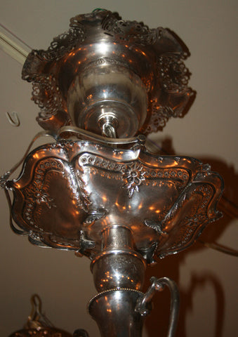 "Handcrafted ""MADHATTER"" teapot 10 light chandelier made out of Victorian, Edwardian and 1920s era Silverware - ONE OF A KIND"