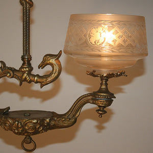Outstanding Antique Circa 1860, Single Light,  Alladin Style Victorian Hall Fixture With Phoenix Details, and Antique Wheelcut Shade.
