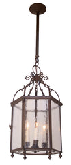 Antique Circa 1940, 3 Light, Six Sided Exterior Lantern with Cast Scroll Details and Glass Panels.