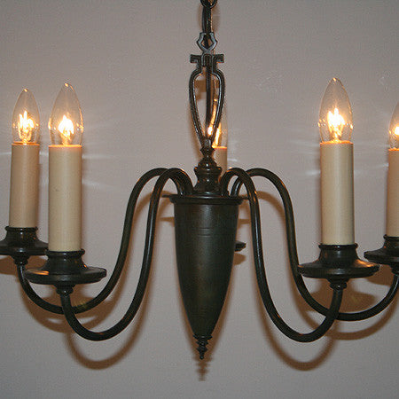 Antique Circa 1930, 5 Light Colonial Revival Scroll Arm Fixture with a Ringed Center Body.