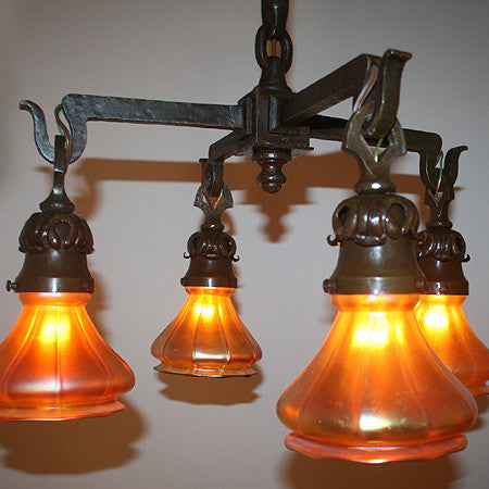 Antique Circa 1905, 4 Light Arts and Crafts Hammered Close Mount Fixture with Original Signed Steuben Gold Aurene Art Glass Shades.