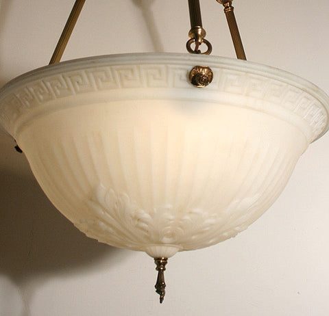Antique Circa 1910, Three Light, Antique Jefferson Milk Glass Dome With Modern Handmade Period Style Holder.