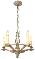 Antique Circa 1935, 5 Light Cast Aluminum Fixture with an Openwork Center Body and Polychome Floral Details.