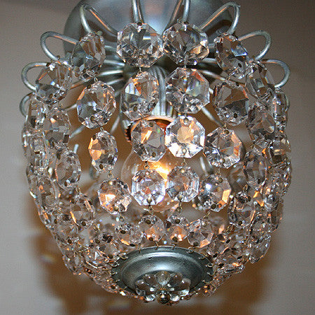 Antique Circa 1960, Single Light, Petite Schonbeck Crystal Close Mount Basket.