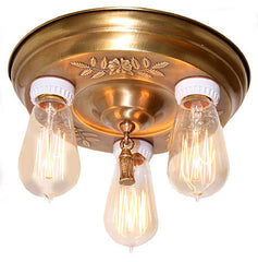 Antique Circa 1915, 3 Light, Petite Embossed Closemount Fixture With Floral / Oak Leaf Details And Edison Bulbs.