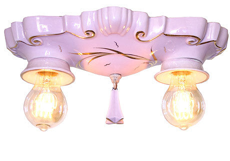 Antique Circa 1930, Two Light, Pair Of Art Deco Pink Porcelain Bathroom Flush Mounts With Gold Detailing and Decorative Edison Bulbs.