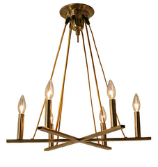 "Handcrafted ""Rotterdam"" 6 Light Mid Century Modern Influenced Chandelier with Cord Suspended Truss Details."