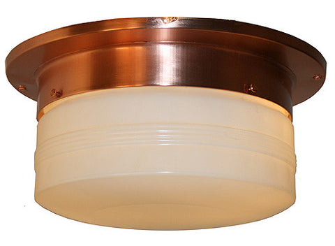 Antique Circa 1950, Two Light, Midcentury Copper Flush Mount with Beautiful Ringed Milk Glass Dome Shade.