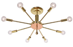 "Handcrafted ""Starnet"" 8 Light Mid Century Modern Influenced Closemount Starburst Fixture."