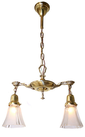Antique Circa 1920, Two Light, Pan Fixture With an Embossed Centre Body, Cast Drape and Oval Arms.