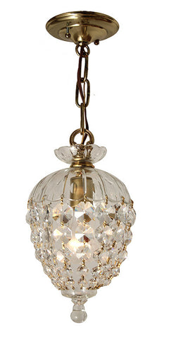 Contemporary Handmade Petite Crystal Basket Chandelier with Upper Crystal Gallery