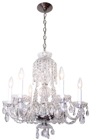 Handmade Contemporary Six Light Crystal Chandelier with High Quality Swarovski and Strauss Crystal.