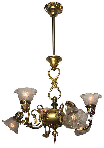 Antique Circa 1900, 6 Light Early Electric Fixture with Original Polished Ormolu Finish, Wreath / Ribbon Castings, and Original Ruffled Stencil Etched Floral Shades.