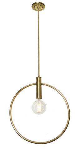 "Handcrafted ""Memphis"", Single Light, Hoop Pendant Fixture, Fitted with a Fat Albert Edison Style Bulb."