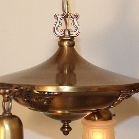 Antique Circa 1920, 4 Light Pan Fixture with Large Decorative Cast Acanthus and Shell Arms.