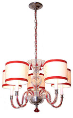 Antique Circa 1940, 5 Light, Cut Glass Chandelier Fixture with Red Twisted Wire, Crystal Accents, and Handmade Drum Lampshades.