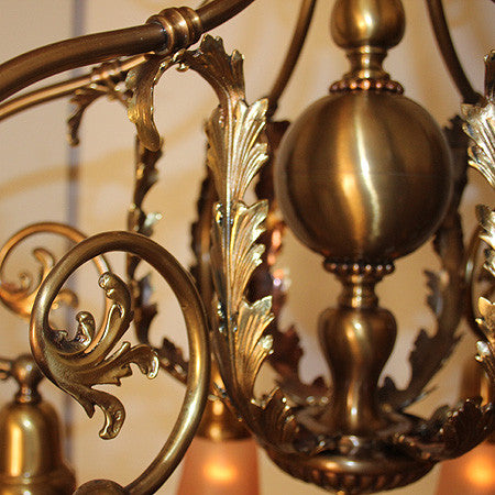 Antique Circa 1905, 6 Light, Exceptional Early Electric Brass Cast Scroll Fixture with Acanthus Filagree.