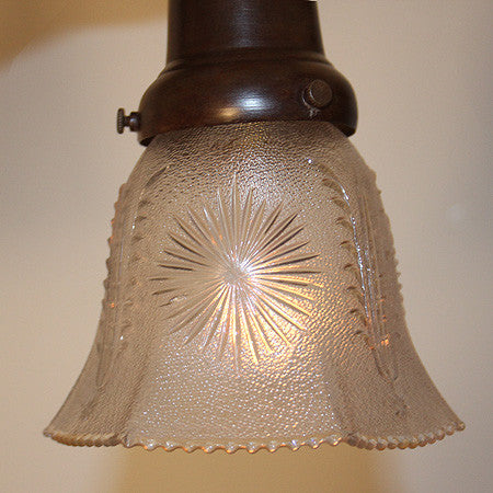 Antique Circa 1915, Two Light, Embossed Flush Mount Fixture with Scroll Acanthus and Swag Details.