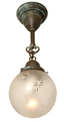 Antique Circa 1915, Single Light, Starcut Enclosed Ball Shade fitted with a Handmade Exterior Pendant Fixture.