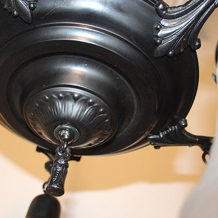 Antique Circa 1920, 5 Light, Pan Fixture with an Embossed Centerbody and Cast Acanthus Arms.