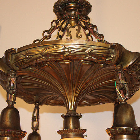 Antique Circa 1905, 5 Light, All Original Edwardian Chain Suspended Fixture with Acid Etched Art Nouveau Shades.