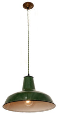 Antique Circa 1910, Single Light, Set of Green Enamel Farmhouse Shades fitted with Handmade Green Cord Pendants.