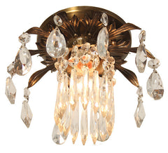 Antique Circa 1920, Single Light, Pair of Petite Brass and Crystal Flushmount Fixtures.