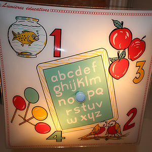 Vintage 1970s Children's Room Alphabet Flush Mount