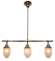 "Handcrafted ""Empire"" 3 Light Art Deco Pendant Light."