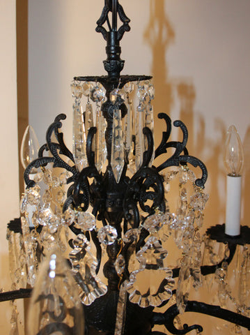 Antique Circa 1930 Eight Light Spanish Cast Brass and Crystal Chandelier