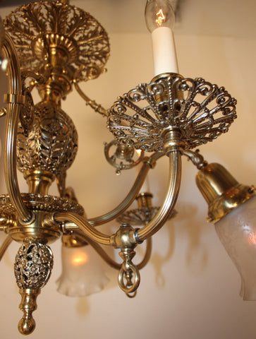 Antique Circa 1905 Eight Light Gas Electric Chandelier with Filigree Motif and Antique Acid Etched Shades