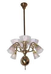 Antique Circa 1900 Eight Light Gas Electric Chandelier with Antique Pressed Glass and Star Cut Shades