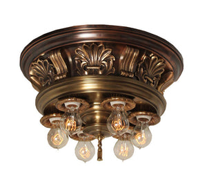 Antique Circa 1905 Six Light Commercial Flush Mount