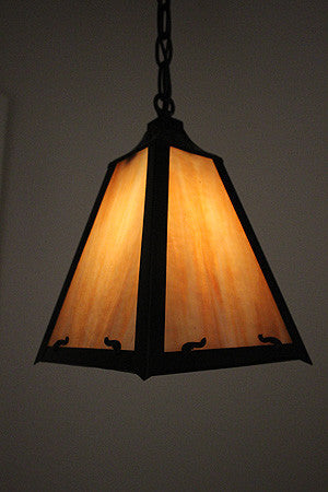 Antique Circa 1910, Original Finish, Single Light Arts and Crafts Chain Pendant Four Sided Shade and Butterscotch Panel Glass