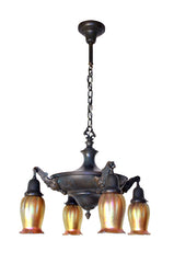 Circa 1910 Four Light Pan Fixture with Reef Acanthus Medallion Arms and Vintage Lundberg Gold Aurene Art Glass Shades